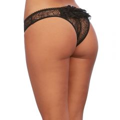 Dreamgirls - Stretch Lace Open Crotch Low Rise Short With Ruffled Lace Back Detail