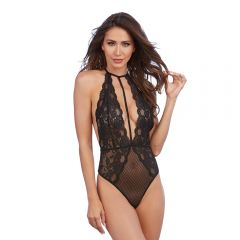 Red Diamond - Stretch Lace & Patterned Mesh Teddy Black (One Size)
