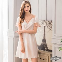 Annabery - Pleasant Embroidery Sleeve Babydoll Pure White
