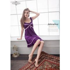 Annabery - Silky Violet Sleepwar With Simple Pink Lace