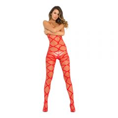 Rene Rofe - Strapped Up Sheer Bodystocking Red (One Size)